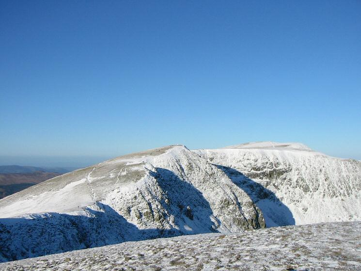 Looking back to High Crag and Nethermost Pike from Dollywaggon Pike