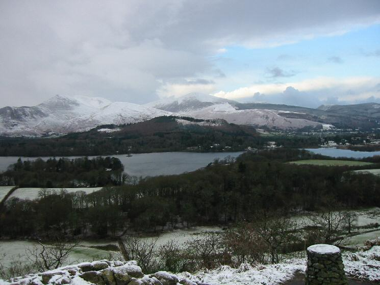 Looking across Derwent Water to Causey Pike and Grisedale Pike from Castle Head