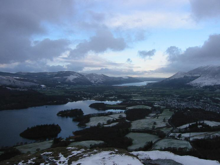 Derwent Water and Bassenthwaite Lake from Walla Crag's summit