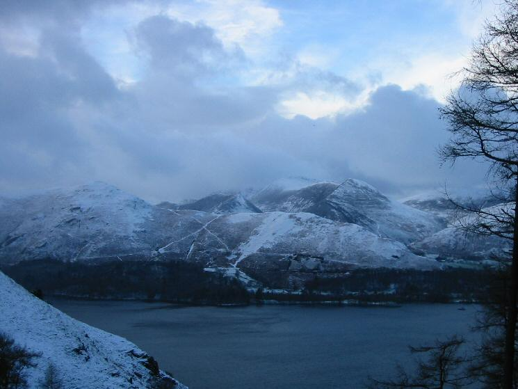 Looking across Derwent Water to the north western fells from Cat Gill