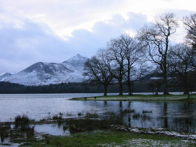 Causey Pike from Derwent Water's shore