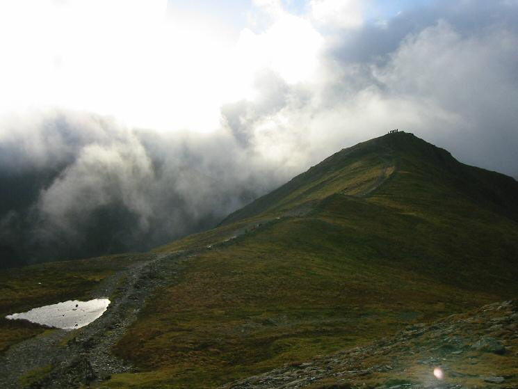 Looking back to Grisedale Pike's subsidiary top