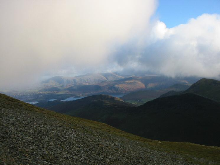 Looking east over Barrow to Derwent Water, Bleaberry Fell and the Dodds