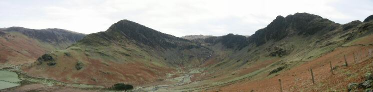 Warnscale Bottom Panorama - Fleetwith Pike, Green Crag and Haystacks