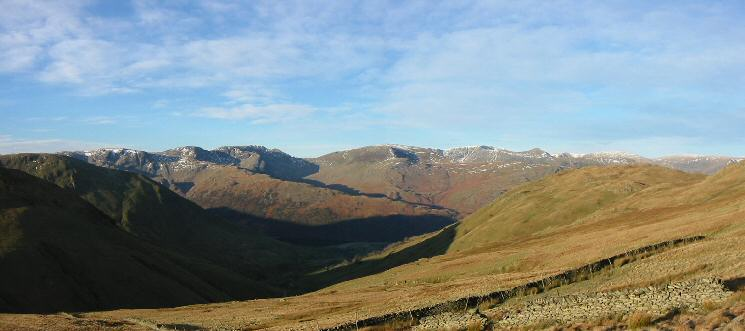 Looking west to the Fairfield group, Saint Sunday Crag and the Helvellyn group from above Hayeswater