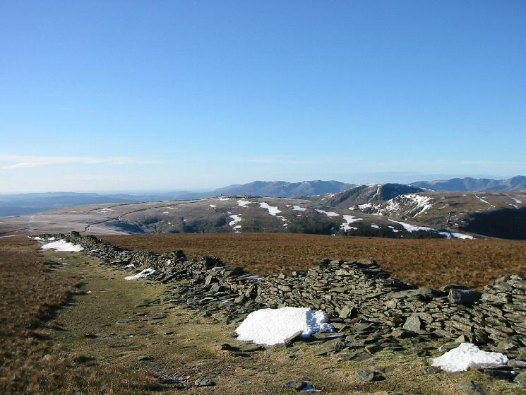 Looking across to Thornthwaite Beacon with the Coniston Fells in the far distance from High Street