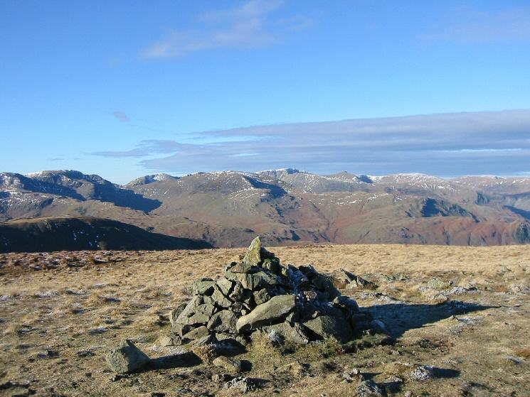 Looking towards Helvellyn from Gray Crag's summit cairn