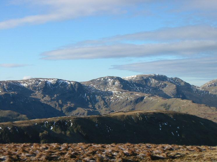 Zooming in on Dove Crag, Hart Crag and Fairfield from Gray Crag