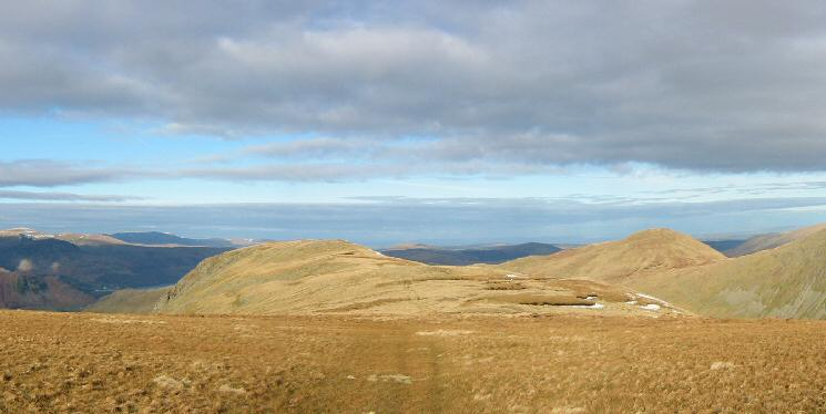 Looking back to Gray Crag with Rest Dodd on the right