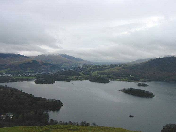 Derwent Water, Keswick and Blencathra from the climb up Skelgill Bank