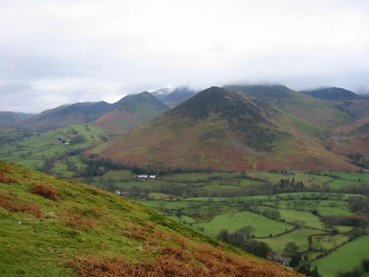 Looking across Newlands to Rowling End with the higher north western fells in cloud