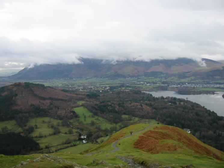 Looking north to the cloud covered Skiddaw fells