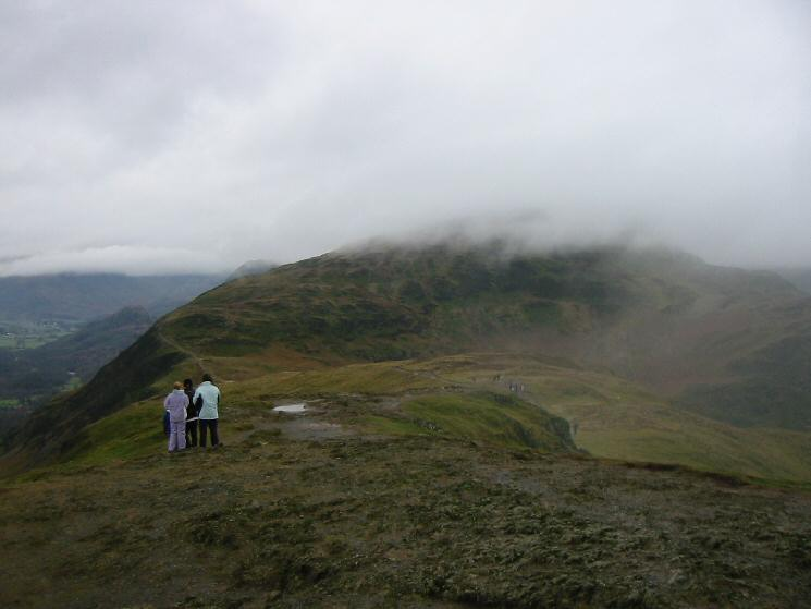 Maiden Moor in cloud from Catbells summit