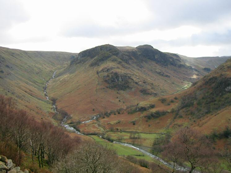 Eagle Crag and Sergeant's Crag with Greenup Gill on the left and Langstrath on the right