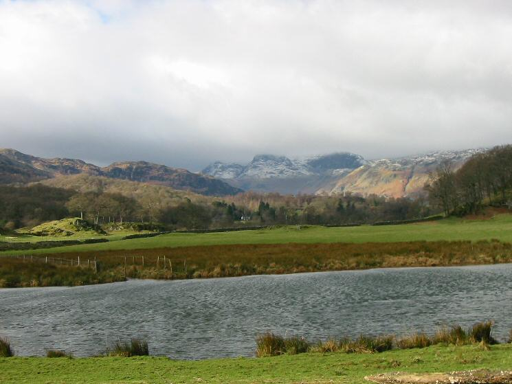 The Langdale Pikes from the River Brathay