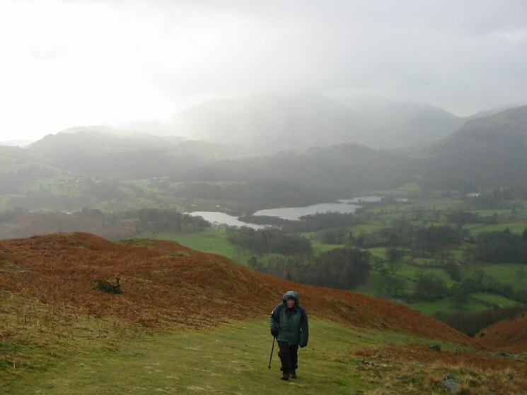 Elter Water from high up on Loughrigg Fell as we get some weather