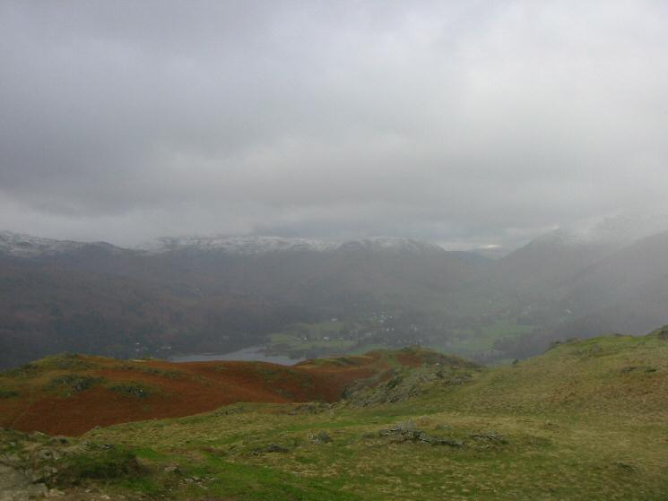 Looking north towards Grasmere and Dunmail Raise from Loughrigg Fell's summit