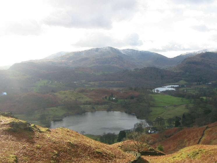 Loughrigg Tarn, Elter Water and a touch of snow on the Coniston Fells