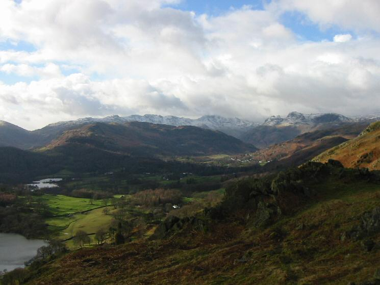 Langdale with snow on the high fells