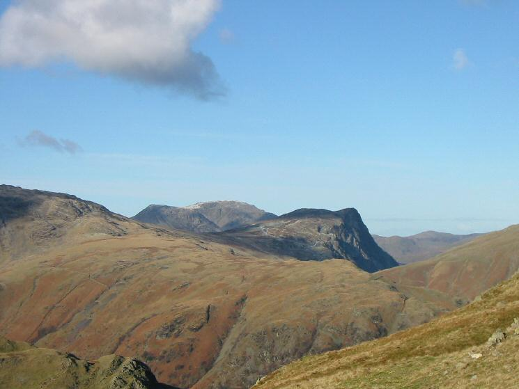 Zooming in on Honister Crag with High Crag and High Stile behind