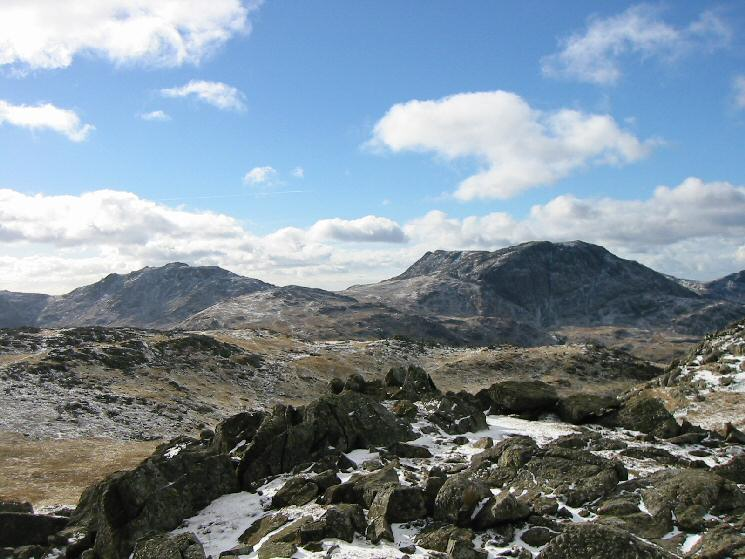 Esk Pike and Great End from Glaramara's summit