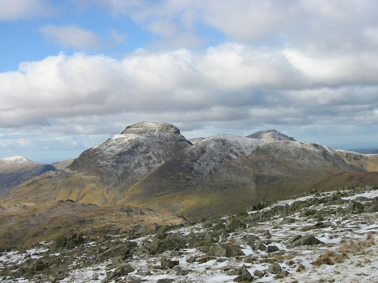 Great Gable and Green Gable with the top of Pillar behind and Seatallan on the far left from Glaramara