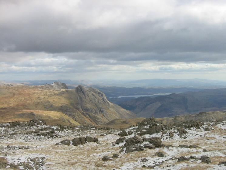 The Langdale Pikes and Windermere from Allen Crags summit