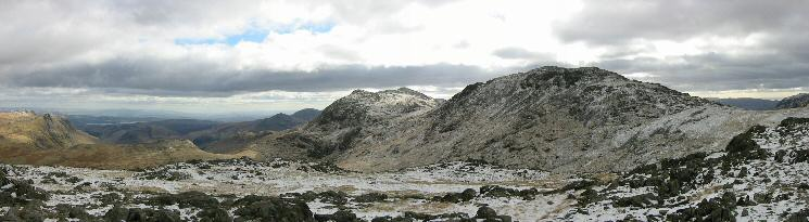 Bowfell and Esk Pike from Allen Crags summit