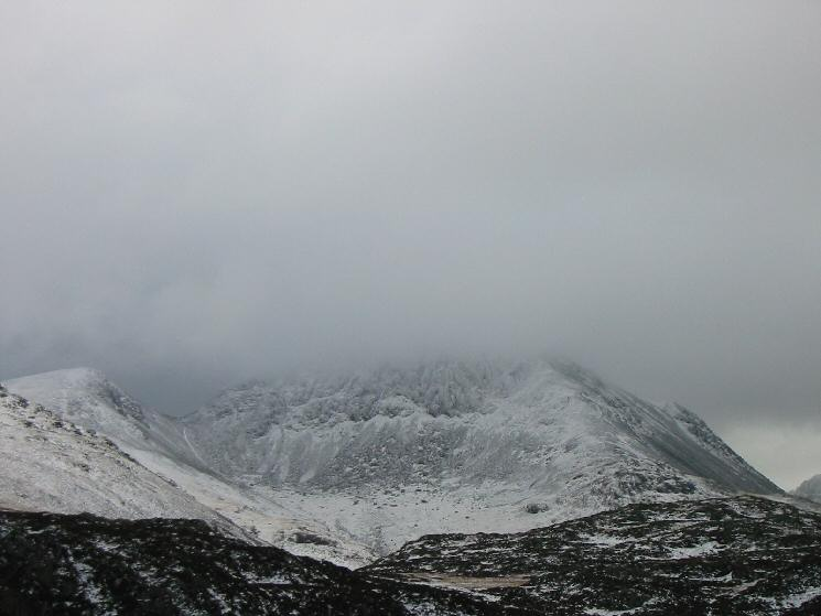 Green Gable on the left and a cloud covered Great Gable