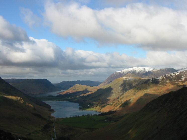 The Buttermere Valley and a snow topped Grasmoor from near Green Crag