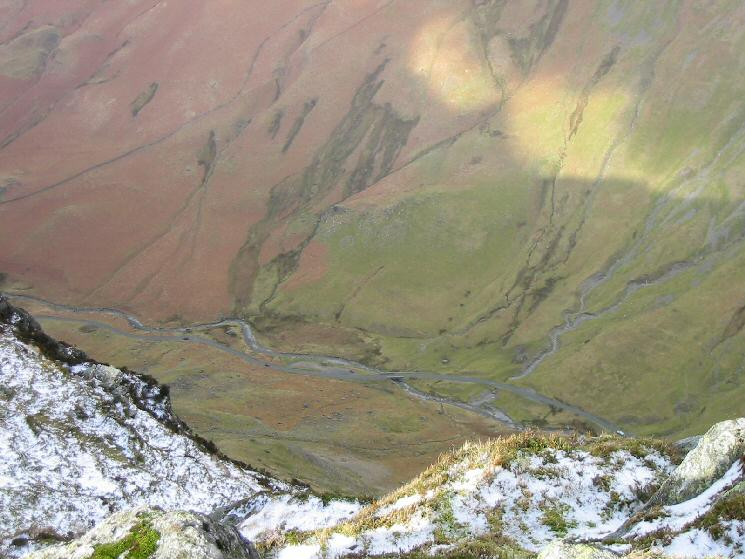 Looking down on Gatesgarthdale Beck and the Honister Pass road