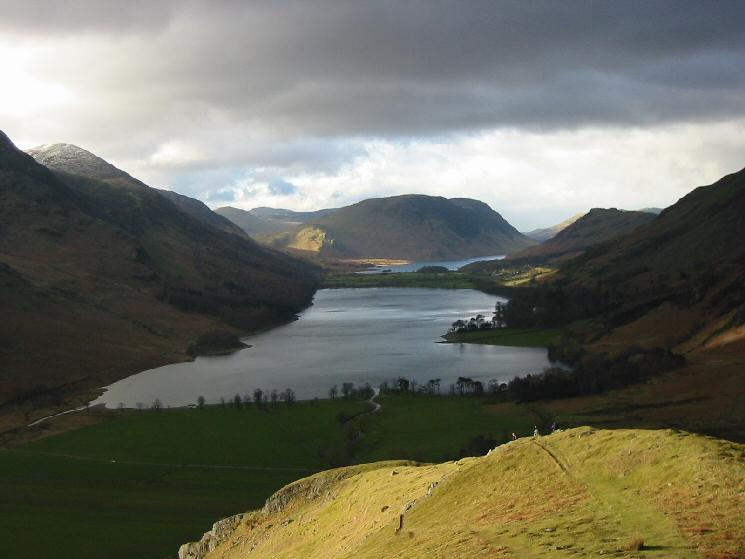 Buttermere and Crummock Water from low down on the ridge