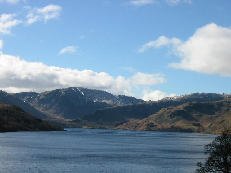 Looking up Haweswater, zooming in on Harter Fell and Rough Crag
