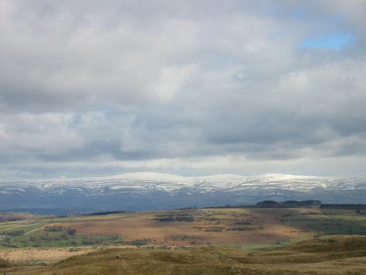 There is still some snow on the North Pennines - Cross Fell, Little Dun Fell and Great Dun Fell