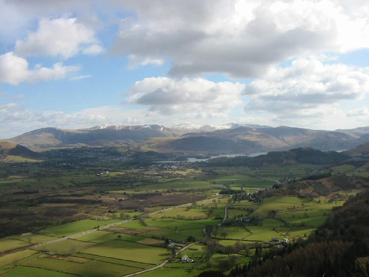 The Vale of Keswick with the Helvellyn Range in the distance