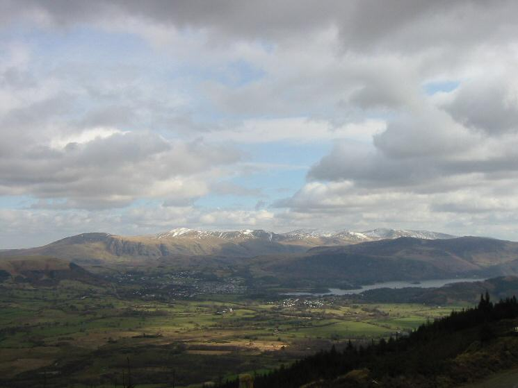 Keswick and the Helvellyn range from Whinlatter Forest