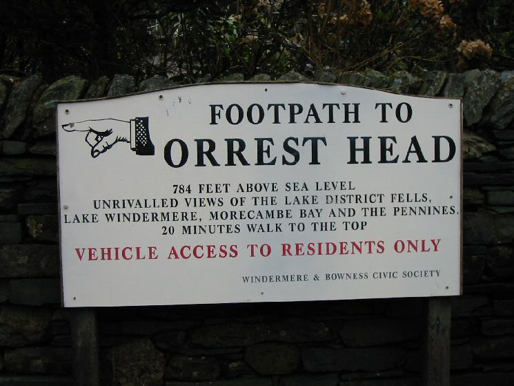Orrest Head sign on the main road (A591)