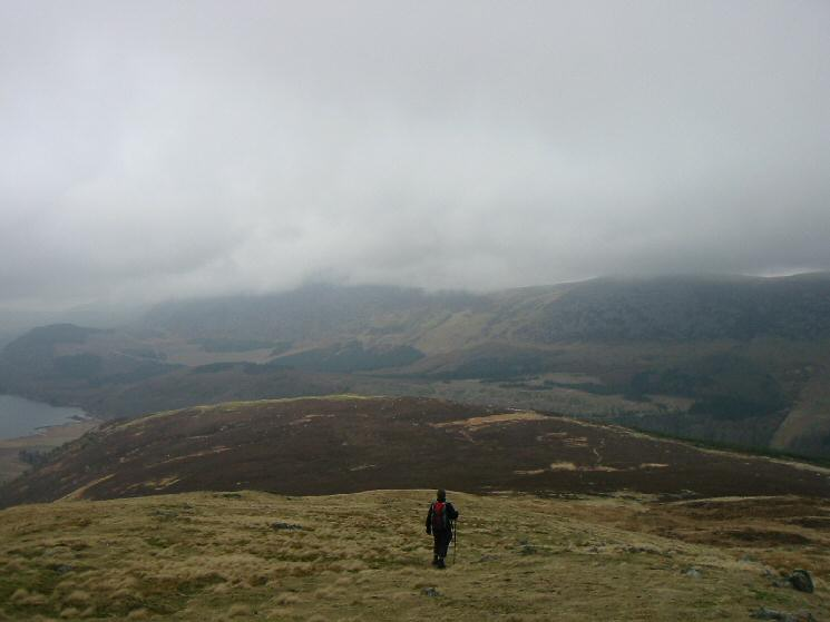 Descending to Lingmell with Great Borne and Starling Dodd in cloud