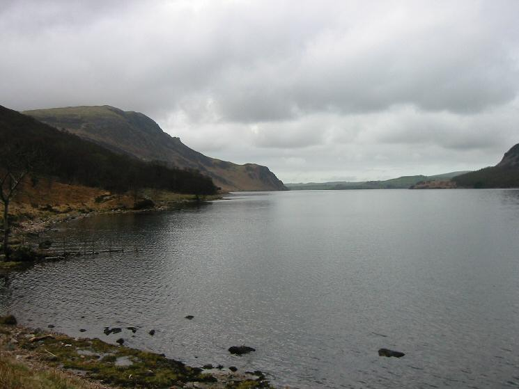 Crag Fell and Anglers' Crag from Ennerdale Water's shore