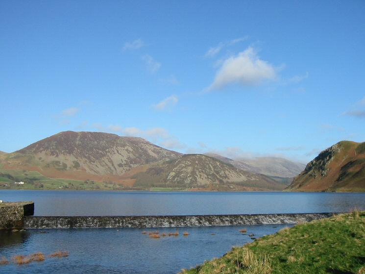 Herdus and Bowness Knott with Anglers' Crag on the far right from Ennerdale Water's weir