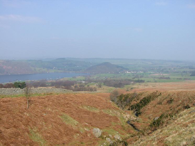 Looking down Aik Beck to Pooley Bridge and the wooded Dunmallet at the foot of Ullswater