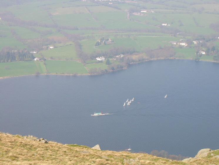 Looking down on one of the Ullswater Steamers