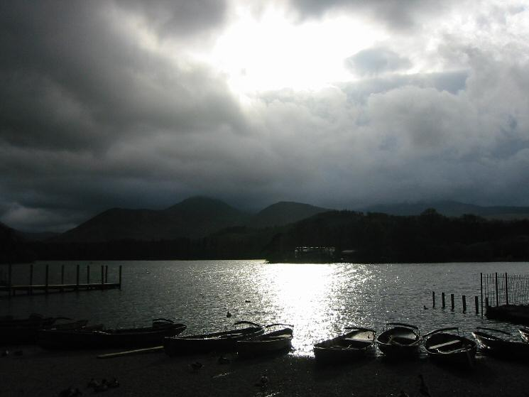 Rowing boats for hire at the Keswick Landing Stages, Derwent Water