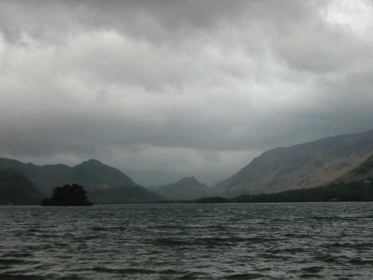 Looking up Derwent Water to Grange Fell and Castle Crag