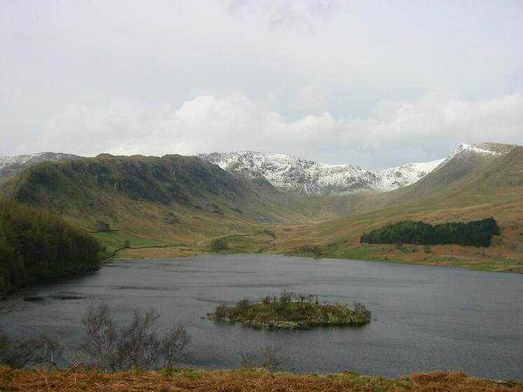 Looking across Haweswater to Riggindale with snow on High Street, Rough Crag on the left and Kidsty Pike on the right
