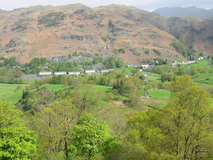 Looking down on Chapel Stile from above the Elterwater quarries