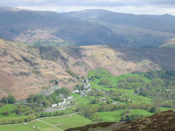Looking down on Chapel Stile from Lingmoor Fell's summit