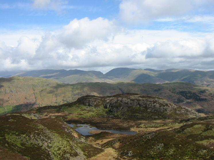 Looking over Lingmoor Tarn to the Helvellyn and Fairfield fells