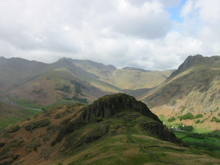 Side Pike with Crinkle Crags on the left, The Band leading to Bowfell just left of centre and Pike o' Stickle on the right