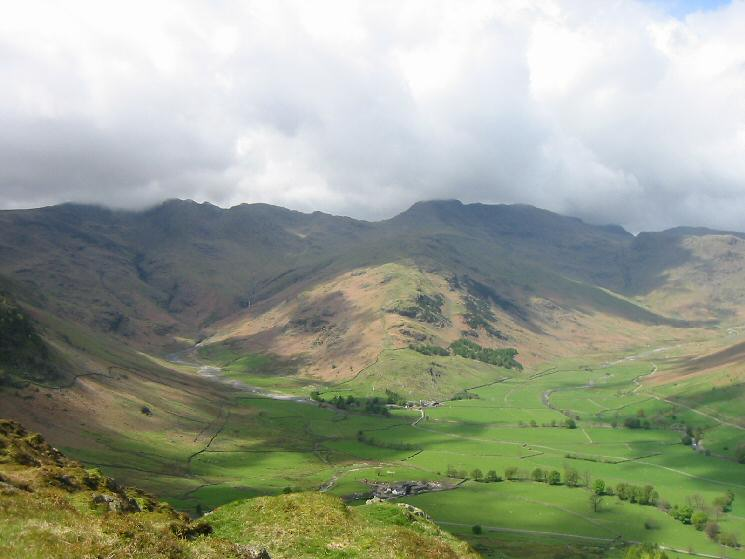 The Band leading to Bowfell with Oxendale on the left and Mickleden on the right
